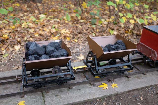 Mit Kohle beladene Gartenbahn | Mit Kohle beladene Waggons der Gartenbahn