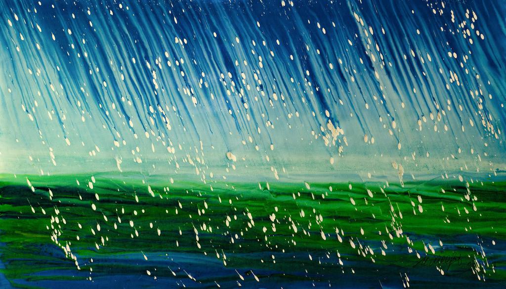 Endlich Regen 3 | Dieser Sommer war trocken, die Bäume schrien und  das Gras winselte  um Wasser vom Himmel. Endlich kam der Regen.  Mit dem Lötkolben geschmolzene Kerzen auf Papier, Holzbeizen, Wasser und meine selbst  gebaute kipp- und drehbare Staffelei um alle Fleiß-Winkel und Geschwindigkeiten zu erreichen. Sie das making of in meinem Blog:  www.kunst2day.de