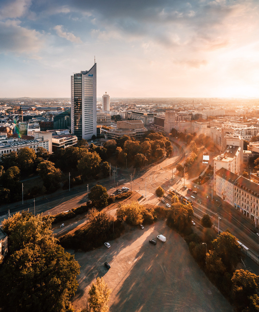 Leipzig Blick vom Süden Wilhelm-Leuschner-Platz