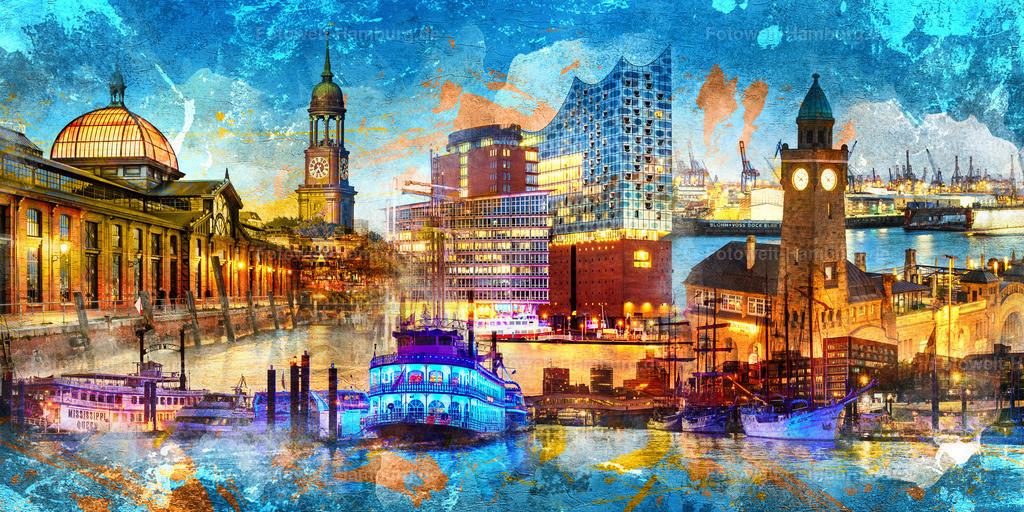 10210518 - Hamburg - Lichter der Stadt | Unsere neue Hamburg Collage im Pop-Art Stil ist ein Traum in blau.
