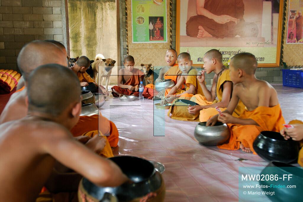 MW02086-FF | Thailand | Goldenes Dreieck | Reportage: Buddhas Ranch im Dschungel | Junge Mönche beim Essen im Kloster  ** Feindaten bitte anfragen bei Mario Weigt Photography, info@asia-stories.com **