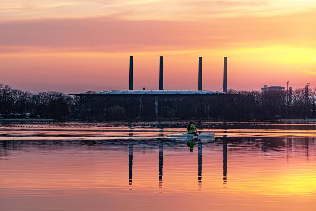 Sunset Spiegelung am Kraftwerk 2