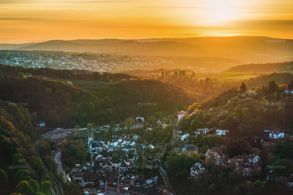 Eppstein Sonnenuntergang  | Blick vom Staufen - Kaisertempel
