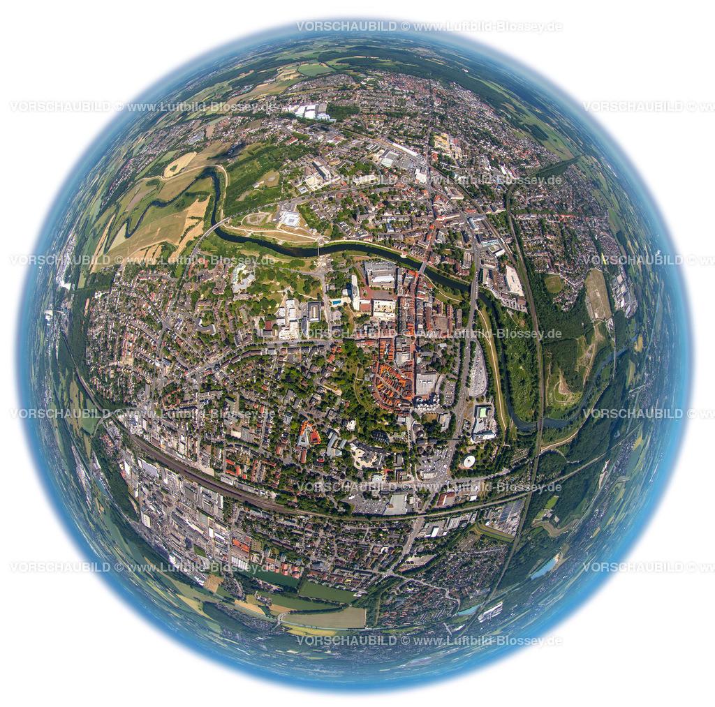 Luenen15063384W | Blick auf den Stadtkern von Lünen mit Lippe und Marktplatz, Fischaugenaufnahme, Panorama,  fisheye-lens,Lünen, Ruhrgebiet, Nordrhein-Westfalen, Deutschland