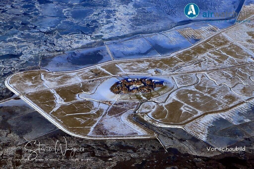Winter Luftbilder, Nordsee, Nordfriesland, Hallig Oland | Winter Luftbilder, Nordsee, Nordfriesland, Hallig Oland