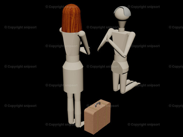 Eherau packt die Koffer (3D-Rendering) | Mann bietet kniend seine Frau, ihn nicht zu verlassen (3D-Rendering mit Holzpupen)