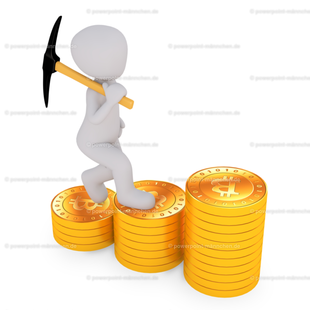 man standing above the pile of bitcoins | Quelle: https://3dman.eu   Jetzt 250 Bilder kostenlos sichern
