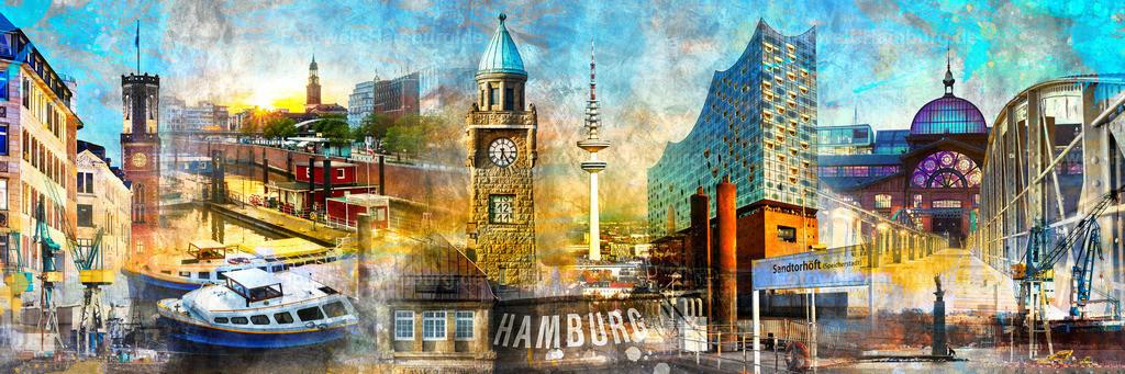 10210202 - Hamburg Collage 043 | Modernes Hamburg Panoramabild im Pop-Art Stil. Eine bunte Collage vieler Hamburger Wahrzeichen - ein Hingucker an jeder Wand.