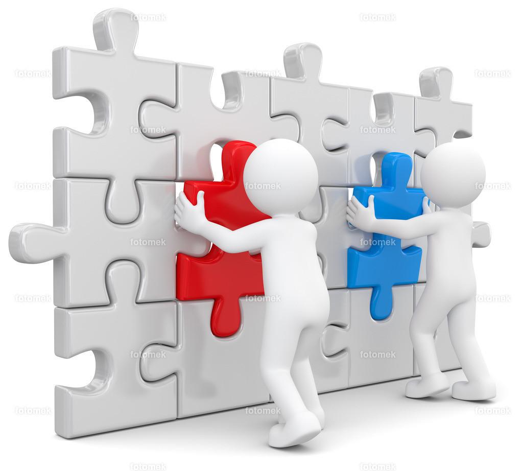 weisse Männchen Puzzlewand Teamwork