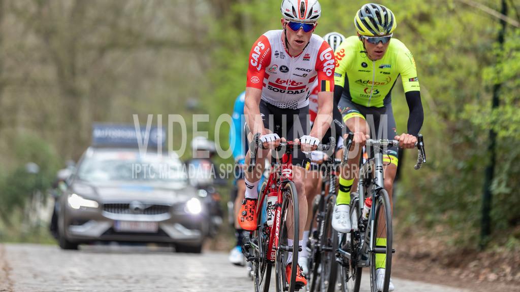 Kemmelberg, Belgium - March 27, 2019: Driedaagse Brugge-De Panne UCI men elite road racing event, Photo: videomundum | Kemmelberg, Belgium - March 27, 2019: Driedaagse Brugge-De Panne UCI men elite road racing event, Photo: videomundum