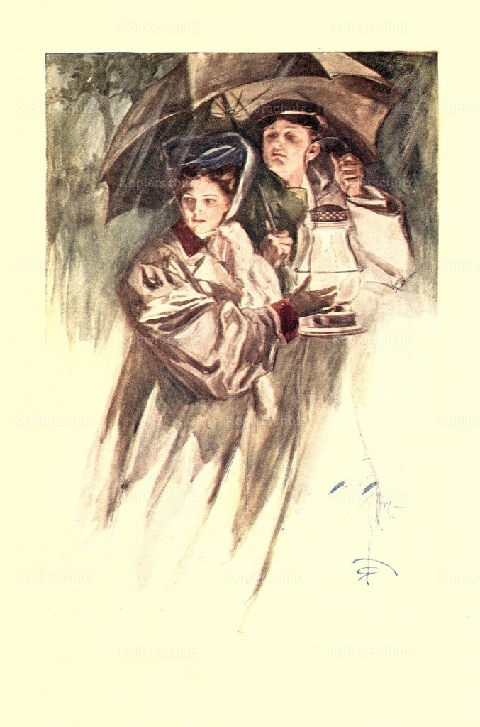 Fisher_ Harrison (1875-1934) - The Flyers 1907 - Couple with umbrella