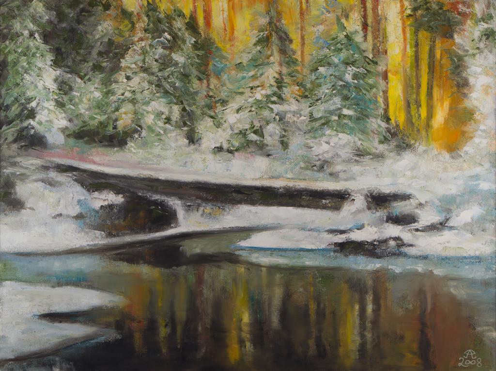 Winterwald mit Brücke | Originalformat: 60x80cm  -   Produktionsjahr: 2008