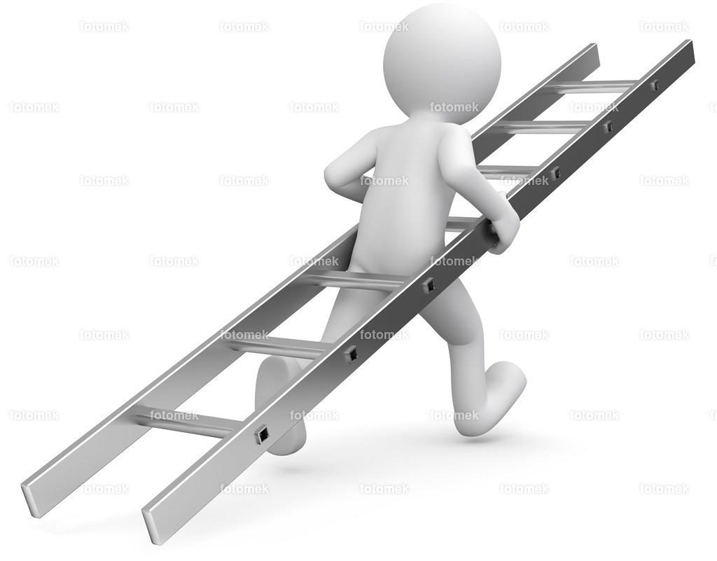 3D Männchen rennt mit Leiter   weisse 3D Männchen von Fotomek
