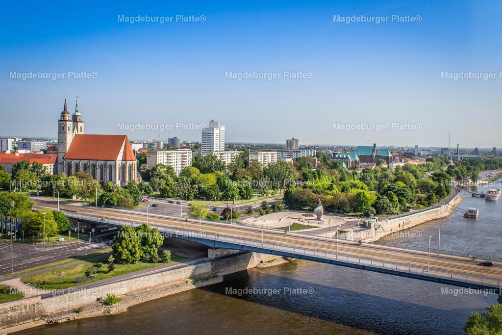 Luftbild Magdeburg Hubbrücke Sternbrücke Strombrücke Dom-2045