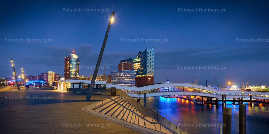 10190922 - Elbpromenade zur blauen Stunde | Blick von der Elbpromenade auf die Elbphilharmonie und das Columbus Haus.