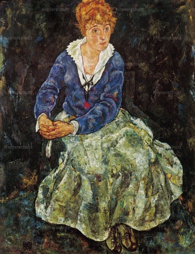 Schiele_ Egon (1890-1918) - Portrait of the Artist_s wife seated 1918