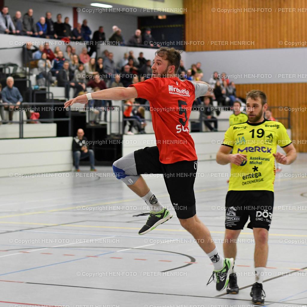 20191201 Handball MSG Rossdorf Reinheim - HSG Bieberau Modau 2 copyright by HEN-FOTO | 20191201 Handball Männer Landesliga MSG Rossdorf Reinheim - HSG Bieberau Modau 2 (27:28) li 5 Kai Stuckert (RR) re 19 Moritz Kaczmarek (BM) copyright by HEN-FOTO Foto: Peter Henrich
