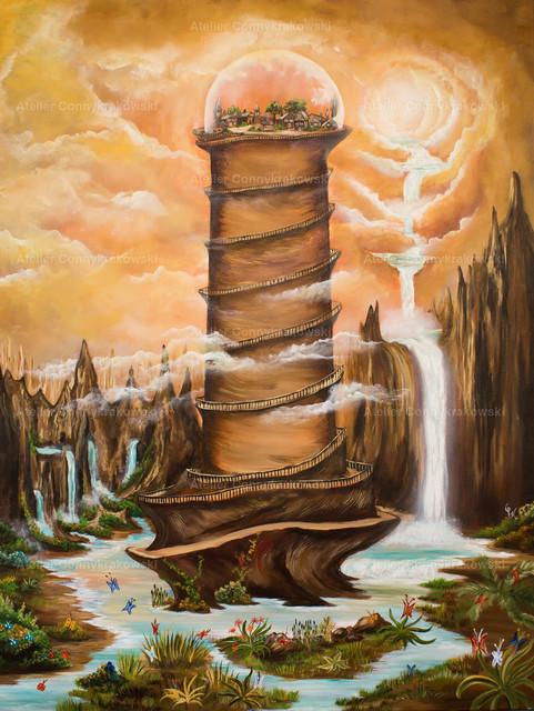 Turm C | Phantastischer Realismus aus dem Atelier Conny Krakowski. Verkäuflich als Poster, Leinwanddruck und vieles mehr.