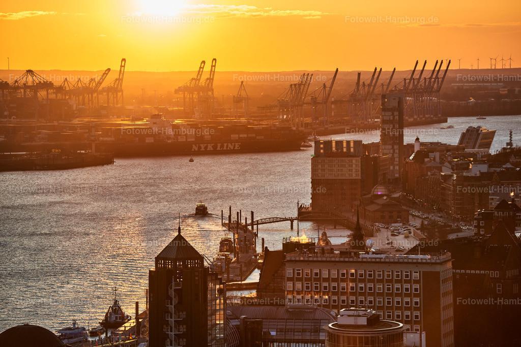 12003706 - Sonnenuntergang hinter dem Hamburger Hafen