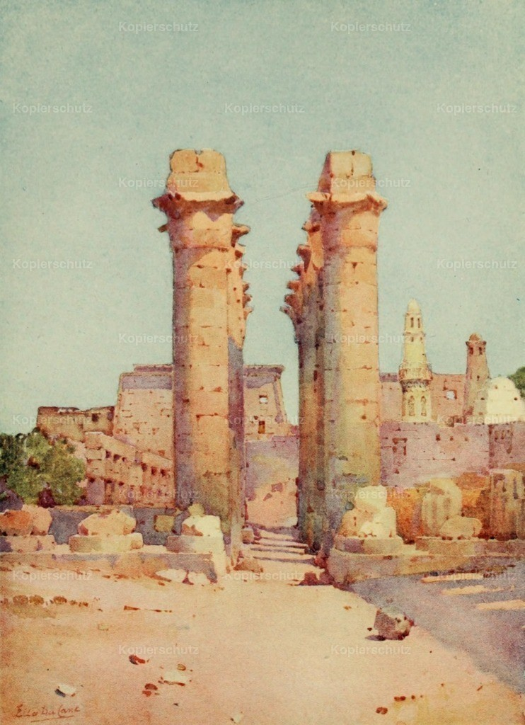 Cane_ Ella du (1874-1943) - Banks of the Nile 1913 - Colonnade at the Temple of Luxor