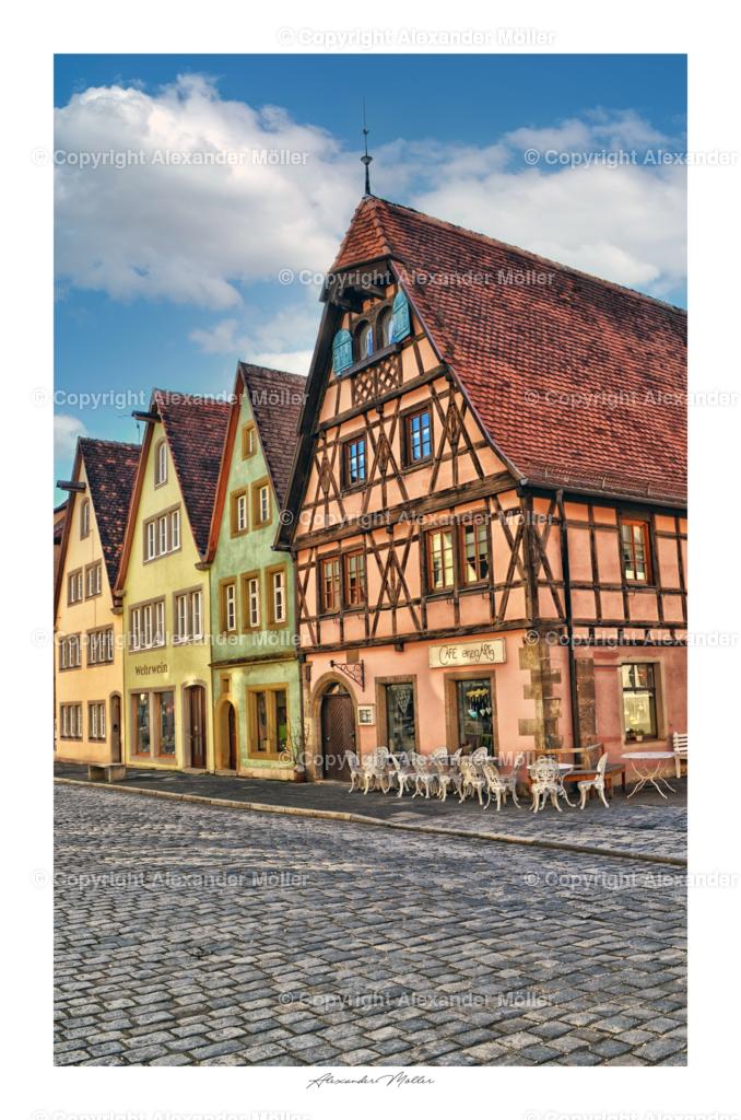 Rothenburg ob der Tauber No.15 | Dieses Werk zeigt die Cafes und Gebäude der Galgengasse.