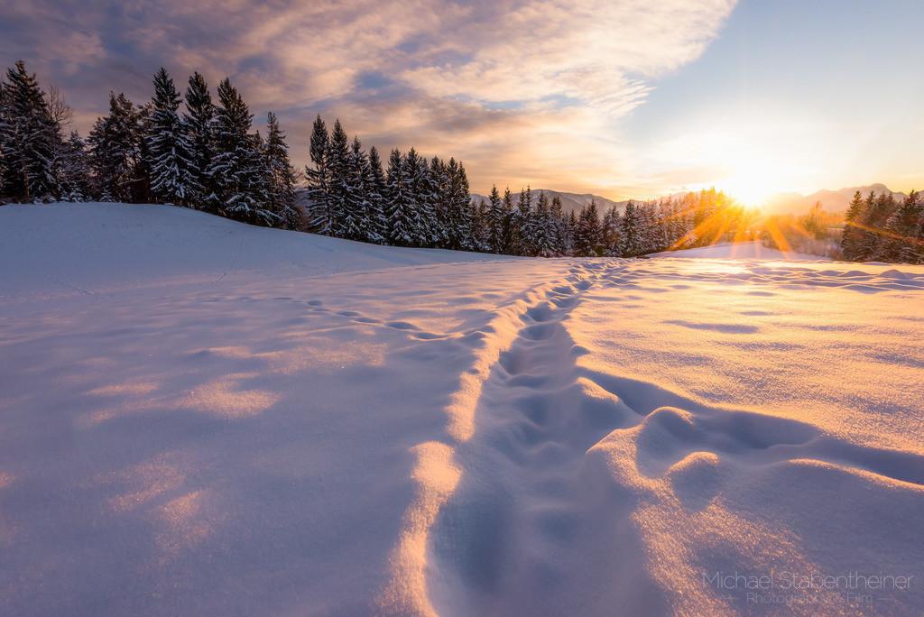Weg im Winter | Schnee mit einem kleinen Pfad im Winter bei Sonnenuntergang