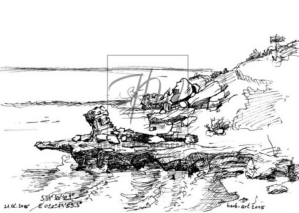 Küste von Arniston/Südafrika | Felsküste am Indischen Ozean in der Nähe von Arniston GPS-Daten und Signatur.
