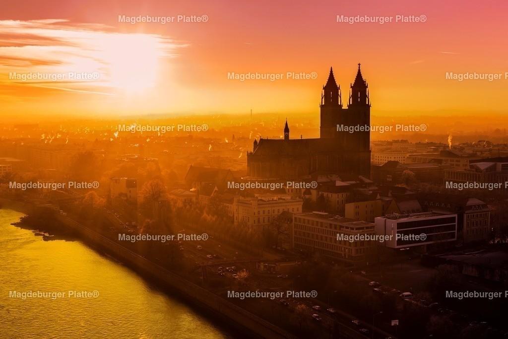 Luftbild Magdeburg Dom Sonnenuntergang Winter-0509 | Luftbilder aus der Vogelperspektive von MAGDEBURG ... mit Drohne oder von oben fotografiert für die Bilddatenbank der Luftbildfotografie von Sachsen - Anhalt.