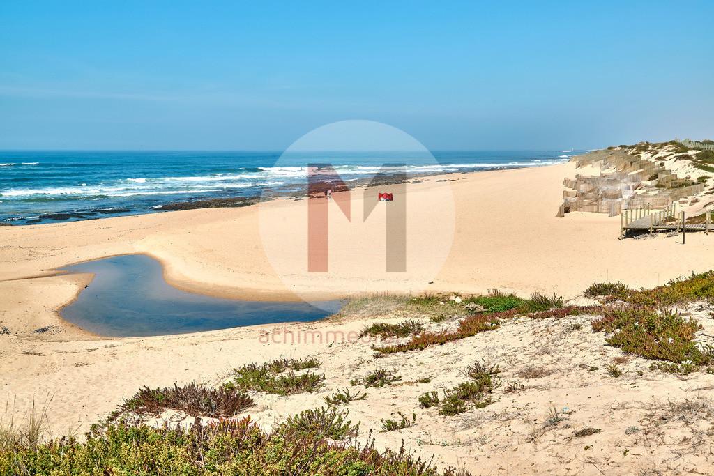 Wanderweg über die Düne an der Küste bei Porto in Portugal