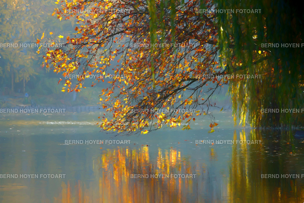 autumn reflection II | Fotografie am Berliner Lietzensee, Deutschland / Digitale Bildbearbeitung / der Ölmalerei nachempfunden / malerischer Effekt. | Photo at the lake Lietzensee in Berlin, Germany / Digital image editing / like painting in oil / picturesque effect.