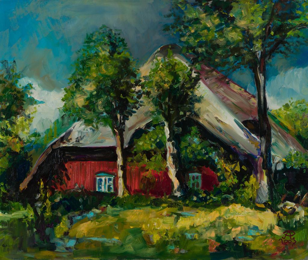 Darß-Urlaub - Rotes Riedhaus mit drei Bäumen | Originalformat: 50x60cm  -   Produktionsjahr: 2007
