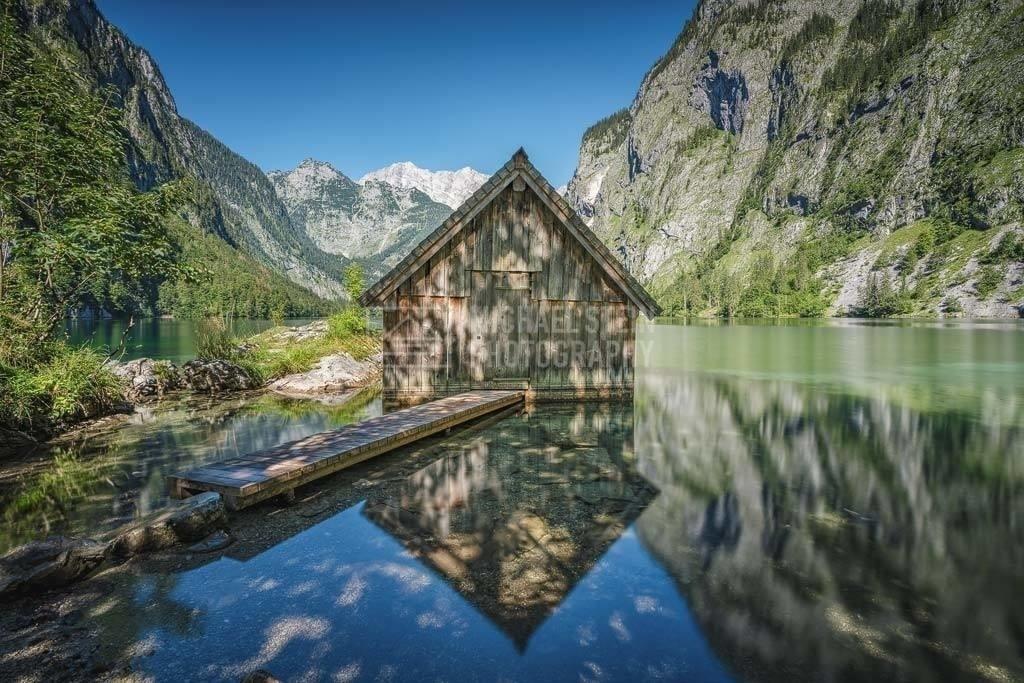Deutschland - Bootshaus am Obersee | Obersee mit Bootshaus im Berchtesgadener Land in Deutschland