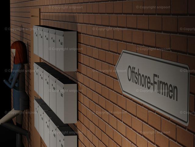 Eine Prostituierte neben Briefkästenfirmen | Wegweiser zu den Briefkastenfirmen