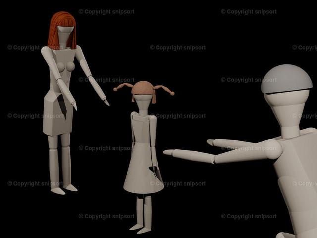 Verlassen_02_2 | Eltern können sich das gemeinsame Kind bei einer Trenung nicht teilen (3D-Rendering mit Holzpupen)