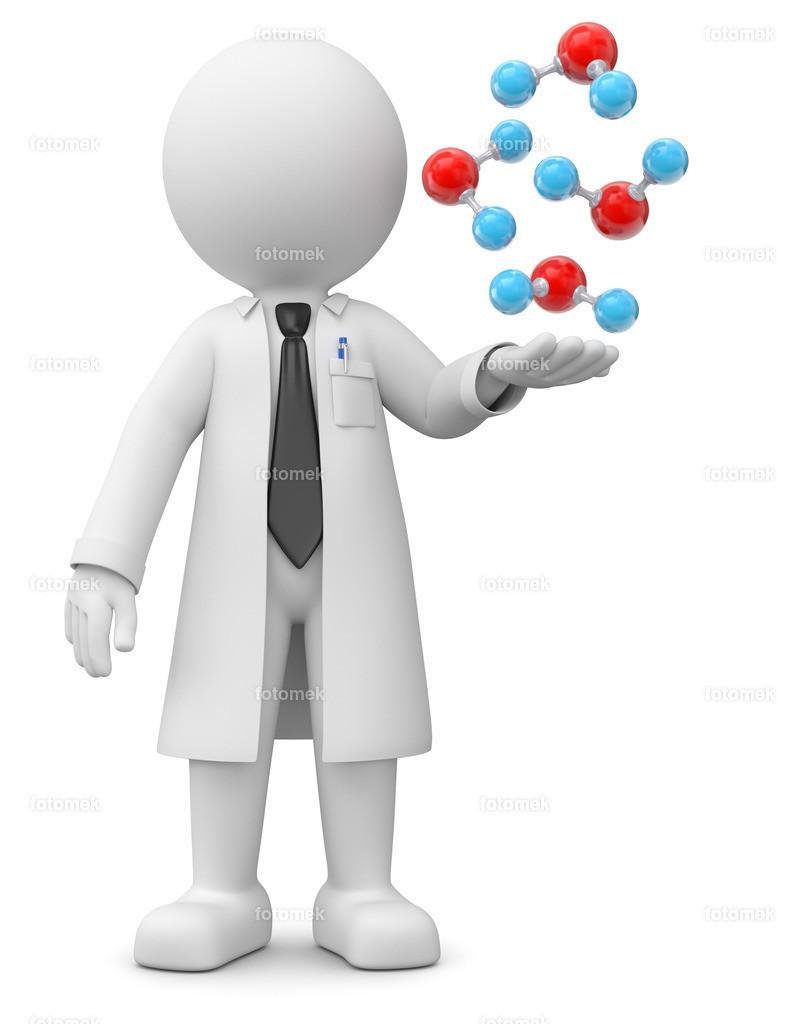 Professor mit Moleküle | weisses 3D Männchen von Fotomek