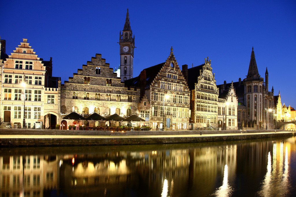 JT-110128-021 | Fluss Leie. Blick auf die Altstadt, Gent, Ostflandern, Belgien, Europa.