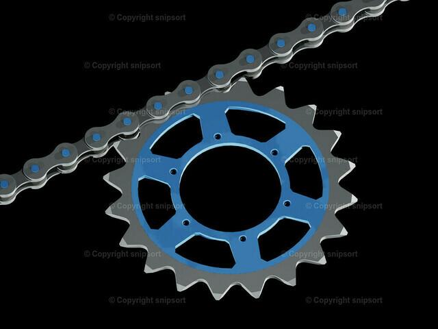 Kette mit Zahnrad (3D-Rendering) | Teil einer Fahrradkette mit Kettenblatt (3D-Rendering)
