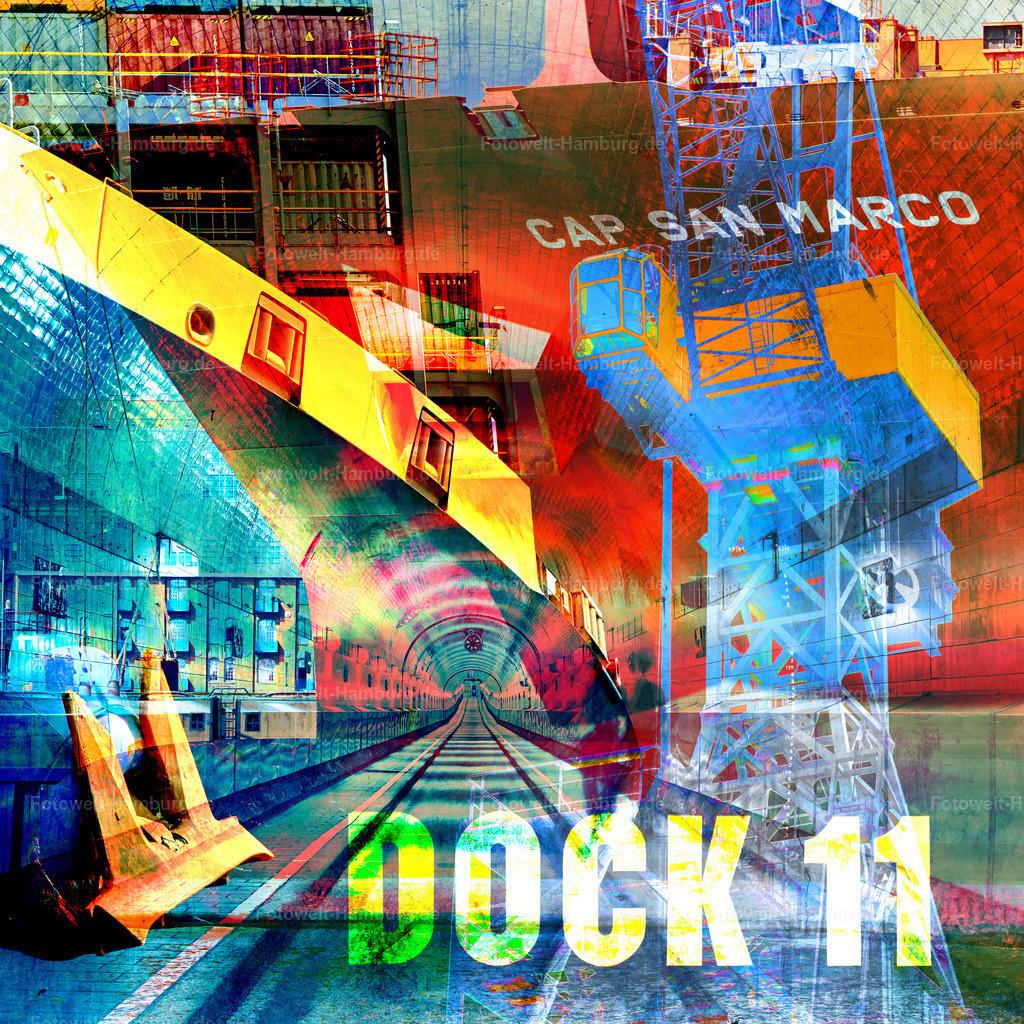 10210116 - Port of Hamburg II | Moderne abstrakte Hamburg Foto-Collage im Pop-Art Stil mit Motiven aus dem Hamburger Hafen.
