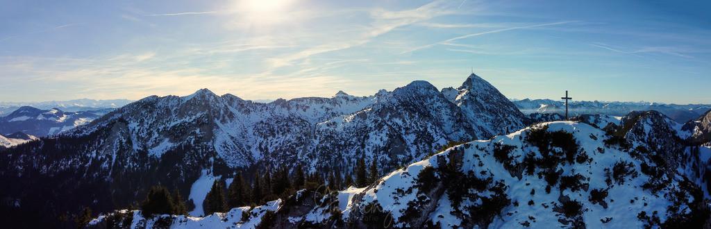 Winter Panorama Wendelstein | Panorama vom Wendelstein mit Hochsalwand im Vordergrund