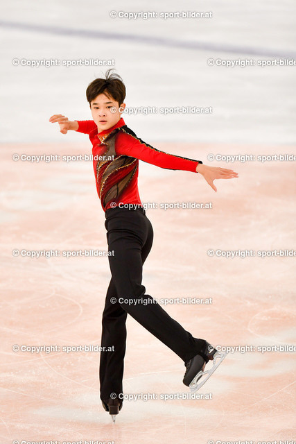 AUT, Eiskunstlaufen, Junior Grand Prix of Figure Skating 2021/2022   07.10.2021, Eishalle Linz, AUT, Eiskunstlaufen, Junior Grand Prix of Figure Skating 2021/2022, im Bild  Hyungyeom Kim (KOR) - Junior Men Short Program