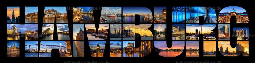 10200319 - Hamburg Schriftzug Fotocollage in schwarz | Fotocollage einiger unserer schönsten Hamburg Motive in einem Hamburg Schriftzug, in dieser Variante mit schwarzem Hintergrund.