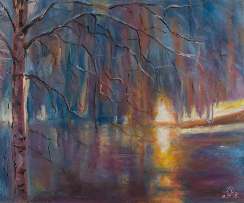 Winterlicher Sonnenuntergung | Originalformat: 50x60cm  -   Produktionsjahr: 2008