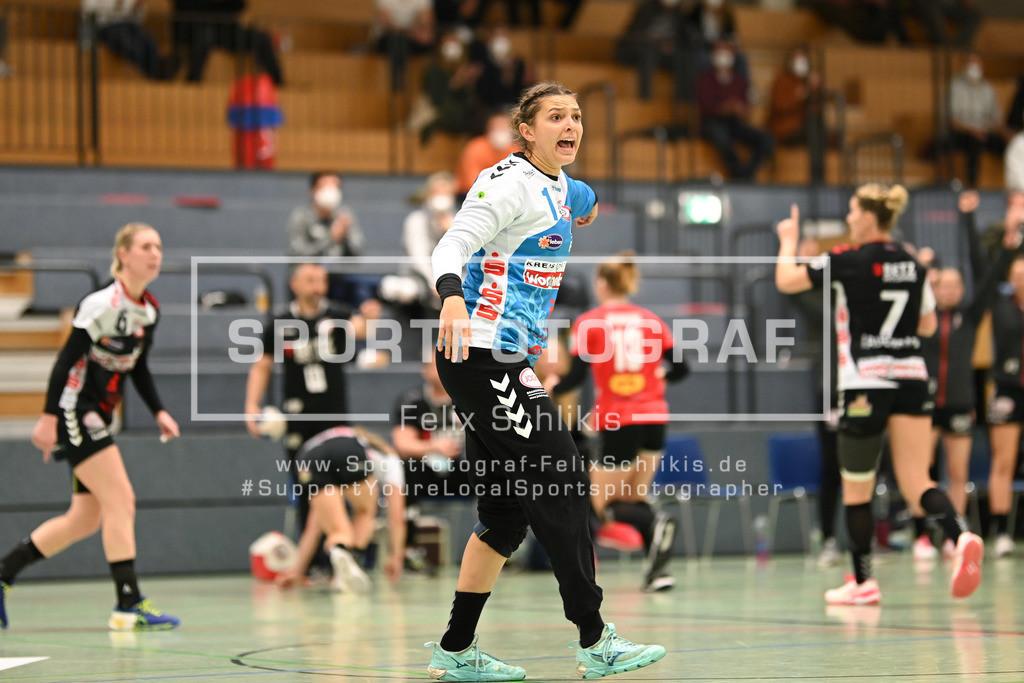 Handball I 1. HBF I HL Buchholz 08-Rosengarten - SV Union Halle-Neustadt Wildcats I 31.10.2020_00018 | Mareike Vogel (#1, HL Buchholz 08-Rosengarten); 1. HBF I HL Buchholz 08-Rosengarten - SV Union Halle-Neustadt Wildcats am 31.10.2020 in Buchholz  (Nordheidehalle), Deutschland