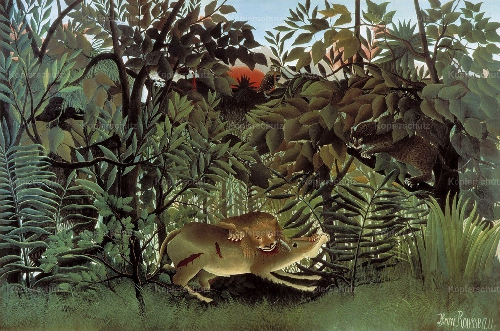 Rousseau_ Henri (1844-1910) - The Hungry Lion Throws itself on Antelope ex.1905