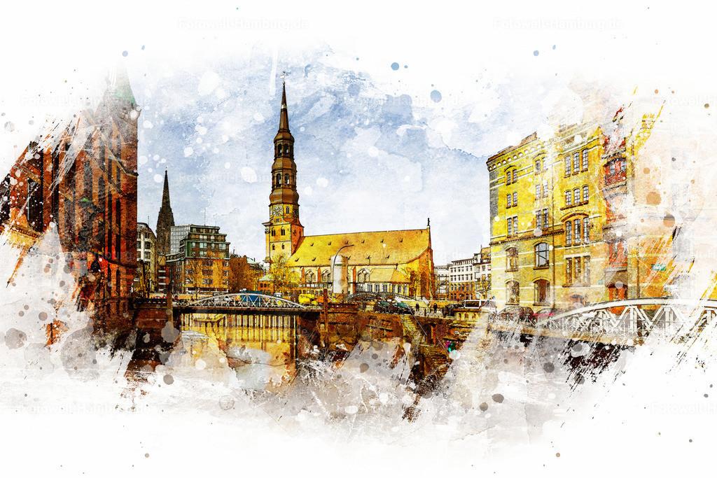 10210306 - Blick auf die Katharinenkirche. | Entdecken Sie unsere Hamburgmotive im Aquarell-Look. Die Kombination von Fotografie und hochwertiger digitaler Nachbearbeitung lässt dieses Bild von der Katharinenkirche wie ein Aquarell-Gemälde erscheinen.