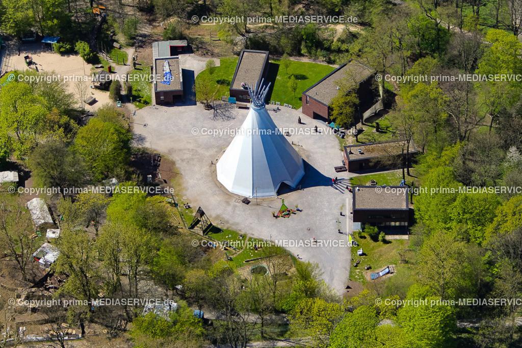 20150421-Luftbildflug Dortmund Big Tipi | 21.04.2015 in Dortmund (North Rhine-Westphalia, Germany)  Big Tipi - das größte Indianerzelt der Welt - war eine in Dortmund erdachte Attraktion der Expo 2000 in Hannover. Nach Abschluss der Weltausstellung hat das Big Tipi als Kletter- und Eventzentrum für Junge und Junggebliebene im Dortmunder Fredenbaumpark seine dauerhafte Heimat gefunden.  Big Tipi ist mit fast 35 m Höhe, einem Durchmesser von ca. 25 m und einer Grundfläche von über 360 qm überspanntem Raum nicht nur eine architektonische Attraktion, sondern gilt auch als Symbol für innovative Kinder- und Jugendarbeit in Dortmund.  Das Zelt bildet inzwischen den Mittelpunkt der Erlebniswelt am Fredenbaum, einer städtischen handlungsorientierten Kinder- und Jugendeinrichtung, in der ein breit gefächertes Programm angeboten wird. Foto: Michael Printz / PHOTOZEPPELIN.COM