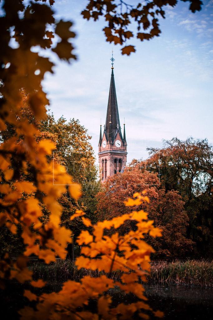 Lutherkirche Leipzig Herbstblätter