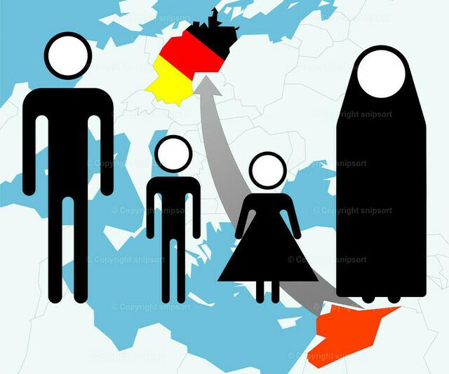 Syienflüchtlinge (Piktogramm über Karte)