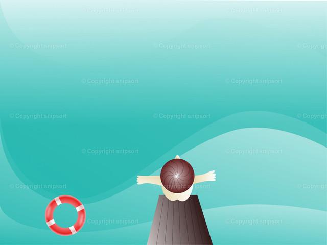 Der Badende | Mann springt vom Sprungbrett ins Wasser