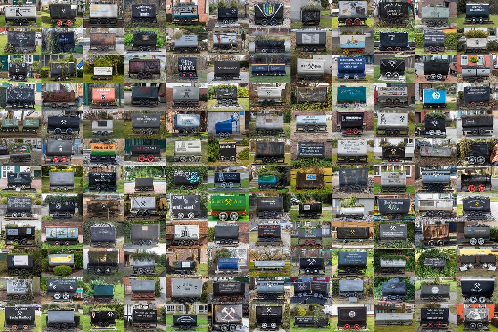JT-180417-1001 | Verschiedene Förderwagen, Kohlenlohren aus verschiedenen Zechen des Ruhrgebiets,